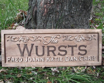 Personalized Family Sign Wedding Gift Rustic flourish 3D CARVED Custom Wood Sign Last name Established wedding couples plaque lovejoystore
