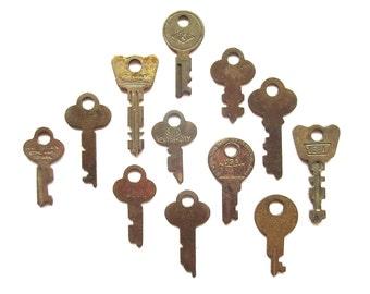 12 vintage keys, vintage flat keys, flat skeleton keys, skelton, rusty odd keys, antique keys, old skeleton keys, steampunk, jewelry keys, 5