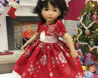 "Christmas LD and H4H ""Snowflake Magic"" party dress and hair clip fits the Little Darling doll and the H4H doll and similiar 13 inch dolls"