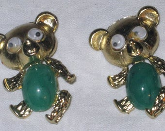 Vintage 60's Pair - Gold Tone Metal TEDDY BEAR Pins with Green Plastic Insets
