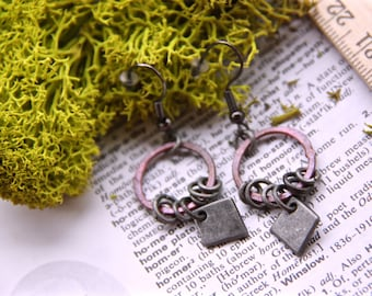 Rings and Diamonds - Rose Copper and Silver Ring Earrings