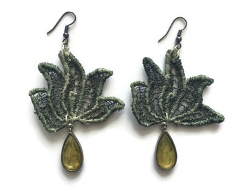 ON SALE Womens Dark Green Turn over a new leaf Lace Dangle Drop Earrings with Glass Crystal Drops