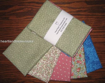 5 Floral Print Cotton Fabric Fat Quarter Bundle