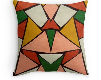 Throw Pillow Case : Felt Design Kaleidoscope Mid Century Mad Men Retro Graphic Minimalist 50s 60s Mod Home Decor