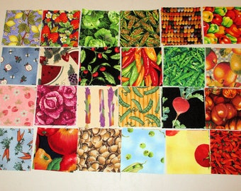Charm Pack 2.5 inches Fruits and Vegetables 48 Pieces Choose one or More