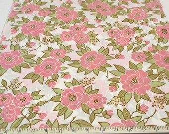 Pink Flower Fabric Vintage 1960s