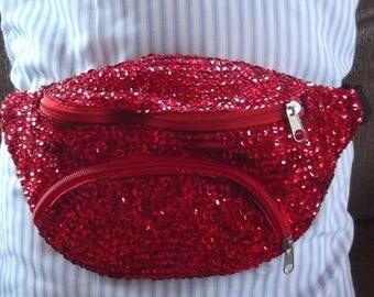 Super Sparkly Red Sequin Belt Bag Fanny Pack