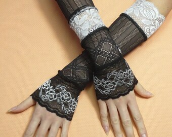 Gypsy Armwarmers Lace Black and Grey Elbow Long Gloves Special Occasion, Armstulpen  Fingerless, Belly Dance, Victorian Arm Cover
