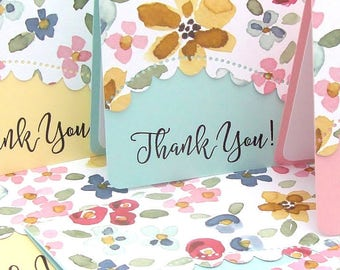 Thank You Card Set, Spring Floral Thank You Card Set, Spring Pastel Thank You Card Set, Floral Thank You Cards,