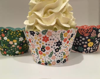 Flower Cupcake Wrappers, Flower Power, Garden Party, Fall Florals - SALE