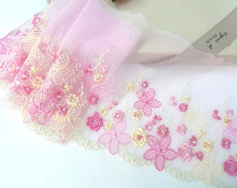 Lace trim, Embroidered lace, Tulle lace, Pink lace, Girls' lace, Net lace, Floral lace, 2 yards  RD190