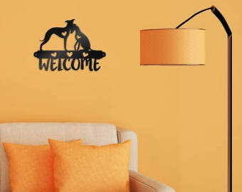 Welcome, decoration, shaped, dogs, custom made, home decor, greyhounds, wall
