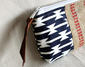Pouch clutch zipper purse makeup bag wallet navy white with jute webbing trim- READY