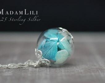 925 Hydrangea Macropyhlla Sterling Silver Necklace