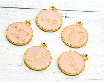 Round Zodiac Charms, 5pcs, Random Designs, Gold Tone -C830