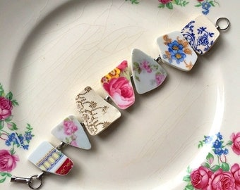 Broken china jewelry -  broken china bracelet - made from antique broken china plates - ecofriendly jewelry