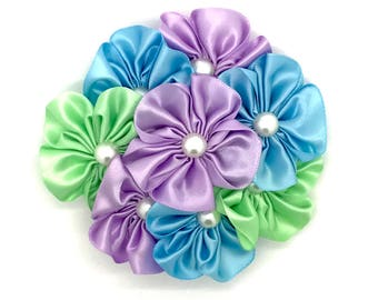 Bold Ambition Snap-In Dog Bows® Collar Attachment - Purple/Green/Blue, Dog Collar Flower, Pet Collar Flower, Collar Flower, Furbaby