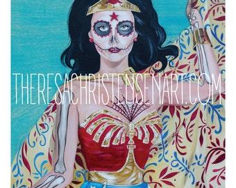 "11""x14"" Dia De La Mujar Maravilla (Day of Wonder Woman)"