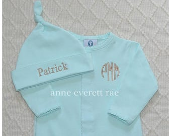 Newborn Coming Home Outfit- Aqua Pima Cotton Footed Sleeper- Gender Neutral Coming Home Outfit- Pima Cotton Baby-Designer Baby, Baby Shower