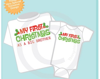 Christmas Big Brother Outfit set - Matching Sibling Set of 2 - Kids Matching Outfits - My First Christmas 11082016d
