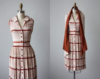1940s Dress - Vintage 40s Dress - Tawny Print Linen and Rhinestones Swing Sundress and Wrap S M - Grasses and Pyramids Dress