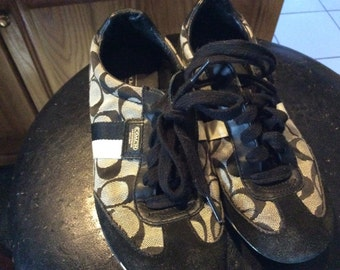 Used coach designer sneakers black and gray size ladies USA 5 1/2 EU 35 UK 3.5