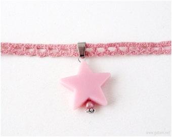 Pink Lace Choker, Pink Star Choker, Pink Necklace, Choker Necklace, Pastel Pink, Pink Jewelry, Fairy Kei, Sweet Lolita, Pastel Goth