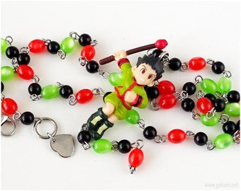 Gon Freecss Rosary Necklace, Red, Green, Black, Anime Necklace, Anime Figure, Anime Jewelry, Shonen