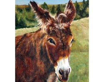 donkey painting, little red donkey, burro, brown donkey, farm animal, donkey art, horse, mule, pony, donkey portrait, colt, Helen Eaton
