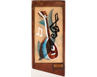 Vintage Mid-Century Modern Enamel on Copper Wall Plaque Mandolin & Musical Notes and Dolphin