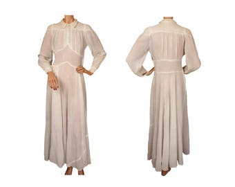 Vintage 1940s Off White Chiffon Dress - S - As Is