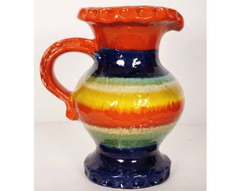 Mid-Century Modern Carstens Fat Lava Pitcher Vase - RAINBOW West German Pottery