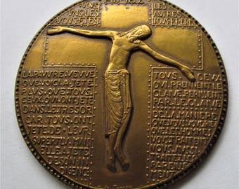 French Bronze Jesus Religious Art Medal Paris Mint By Albert de Jaeger
