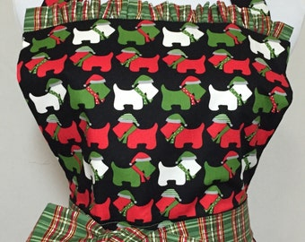 Baby Boomers Nostalgic Traditional Holiday Plaid Apron with Scottie Dogs in Santa Hats