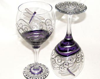 Purple Dragonfly Glassware Hand Painted Dragonfly Wine Glasses ~ Pair