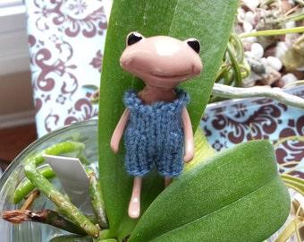 Fortune Wanda Friend - knit romper - country blue - Wanda Frog - Wonder frog