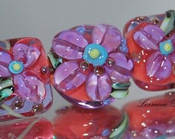 Rich in color Lampwork bead set - SRA Lorraine Dowdle