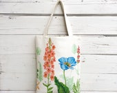 Floral Tote Bag, Reversible Tote Bag, Canvas Tote Bag, Purse, Handbag, Book Bag, Summer Tote Bag, Stripe Tote Bag
