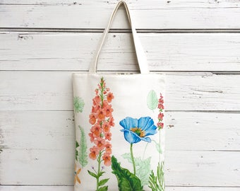 Floral Tote Bag, Reversible Tote Bag, Canvas Tote Bag, Purse, Handbag, Book Bag, Summer Tote Bag, Stripe Tote Bag