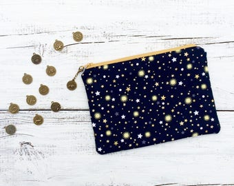 Zodiac Cosmetic Bag, Galaxy Stars Makeup Bag, Horoscope Zipper Bag, Zipper Pouch, Metallic Zipper Bag, Wedding Party Gifts, Bridesmaid Gifts