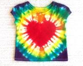 Girl Baby Tie-dye T-shirt, 18 months, rainbow heart