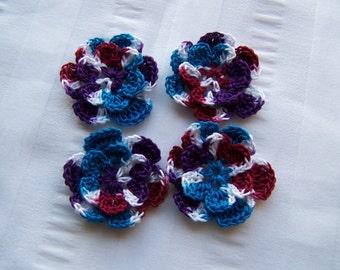 Crochet motif set of 4 flowers 1.5 inch Jewels embellishment crochet flower