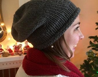 Slouchy Hat, Hand Knit, Dark Grey, Mushroom Taupe