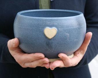 Handmade stoneware bowl - wheel thrown bowl in smokey blue with heart motif
