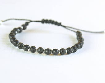 Lava and sterling silver beads bracelet-Mother nature-Volcano bracelet-Black bracelet