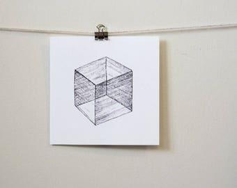 "minimal geometric art print: ""transparent solid,"" hand-pressed thermal print"