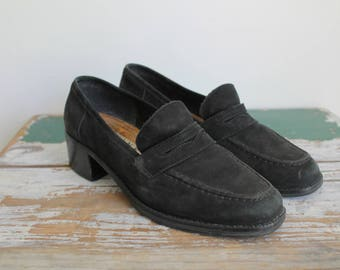90s Loafers, Leather Shoes, Penny Loafers, Chunky 90s Shoes, Leather Loafers, Size 7, 37-38, EU 5, Nine West, Normcore, Black Leather Shoes