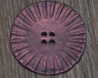 Large Hand Made Clay Molded 4 hole Button - Copper with Navy Blue undertones 2 inch button