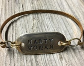 Hand stamped brass bangle