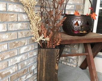 floor vase, reclaimed wood, rustic vase, porch decor,  wooden floor vase, vase for porch, outdoor vase, rustic, farmhouse decor
